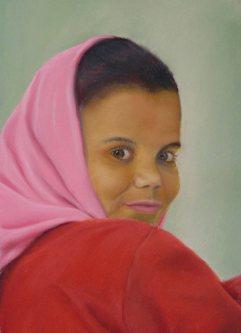 """Egyptian Girl"" - pastel, 100 x 200mm, $900"