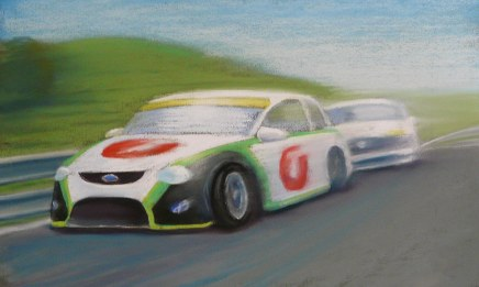 """Ford vs Holden"" - pastel on paper, POA"