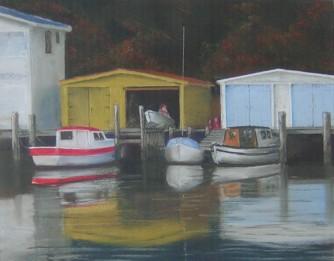 """Boats at Paremata"" - pastel on paper, SOLD"